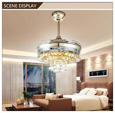 ceiling fan with pendant light modern crystal pendant round shaped led ceiling fan lights with retractable