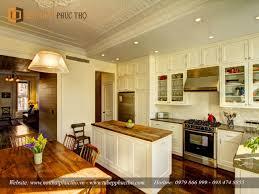 Tủ bếp gỗ tự nhiên sơn trắng làm từ sồi Nga - Nội Thất Phúc Thọ