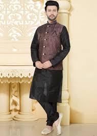 Designer Kurta Pajama With Basket Black Readymade Kurta Pajama With Nehru Jacket