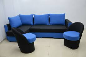 corner sofa bed zeus and two small chairs with storage jack black cobalt suedline fabric