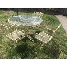 vintage woodard wrought iron patio set rose glass table top 4 swivel chairs