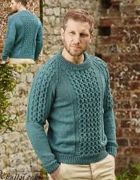 Mens Sweater Knitting Pattern Magnificent Cabled Raglan Sweater For Men