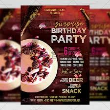 Surprise Birthday Party Flyer Club A5 Template