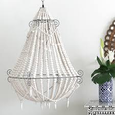 boho white beaded chandelier