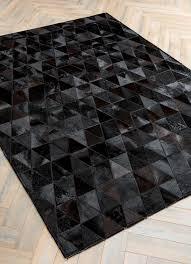 onix by mosaic rugs luxury handcrafted black patchwork cowhide rug modern geometric pattern design