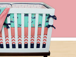 whale crib bedding c navy mint green pink baby nursery