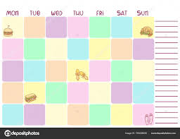 Daily Colorful Planner For Business Or Education With Food