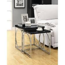 Metal Living Room Furniture Glossy Black Nesting End Table Circle Table Base Design Metal