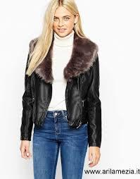 donna oasis giacca in pelle sintetica con collo removibile in pelliccia sintetica nero pz2700802