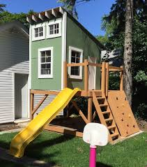 kids clubhouse. Cool Kids Clubhouse With Shed Roof, Slide And Rock Wall