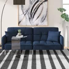 Modern blue couch Blue Cloth Eulalie Plush Modern Sleeper Alamy Blue Sofas Youll Love Wayfair