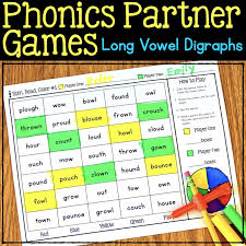 Ruled lines, short vowel sounds, consonant digraphs, and words to copy. Phonics Partner Games For Long Vowel Digraphs Ou Ow Oo Oi Oy Au Aw And More