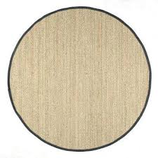 elijah seagrass with border black 6 ft x 6 ft round area rug