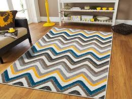 New Fashion ZigZag Style Large Area Rugs 8x11 Clearance Under 100 Blue Brown Cream Yellow Grey Amazon.com: