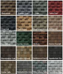 Shingle Color Chart Some Of The Many Roofing Shingle Color Choices In 2019