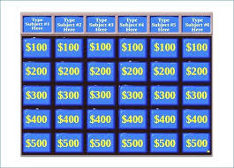 Free Jeopardy Template With Sound 6 Free Family Feud Templates For Teachers Jeopardy Template Blank