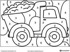 You will love these free printables for toddler, kindergarten and math activities for preschoolers. Color By Number Truck Preschool Coloring Pages Coloring Pages Transportation Preschool