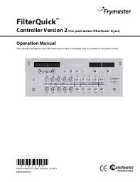 frymaster product filterquick controller gen 2 user manual after 4 15 2015