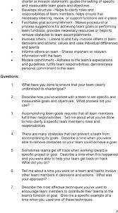 behavioral situational interview question bank table of contents facilitates goal accomplishment makes procedural or process suggestions for achieving team goals or performing team