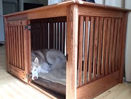 dog crate console table wood
