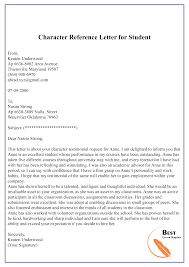 Student Character Reference Letter Character Reference Letter For Student 01 Best Letter Template