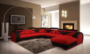 contemporary red sofa and modern red and black leather sectional sofa with headrests vgev7395 5