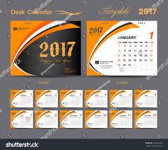 Set Orange Desk Calendar 2017 Template Stock Vector 500602483