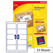 Avery 10 Per Page Labels Avery Weatherproof Shipping Labels Laser 10 Per Sheet L7992 25 99 1