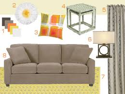 the color palette for the room is full of warm tones like sunny orange and yellow along with some rich dark wood tones some basic neutrals like mocha and