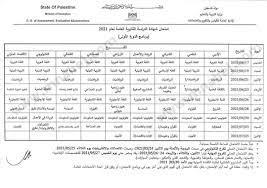 جدول امتحانات توجيهي 2021 -... - المناهج الفلسطينية الجديدة