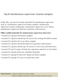 Top 40 Maintenance Supervisor Resume Samples Best Maintenance Supervisor Resume