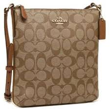 Image is loading COACH-Signature-Canvas-North-South-N-S-Crossbody-Bag-