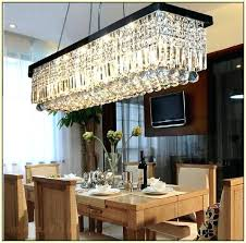 rectangular chandelier dining room modern linear island crystal what size for of table