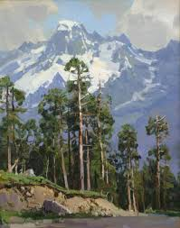 saatchi art pine trees in the background of the sofia mountain painting by alexander ch