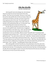 This Reading Comprehension Worksheet - Jilly the Giraffe is for ...