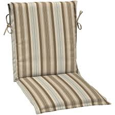 Reversible blue striped outdoor chair cushion