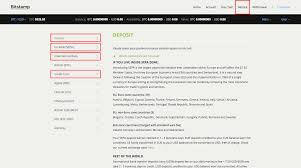 screenshot of deposit page showing available options for deposit at bitstamp