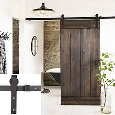esright 8ft brown basic wood barn door steel antique style sliding hardware track set coffee
