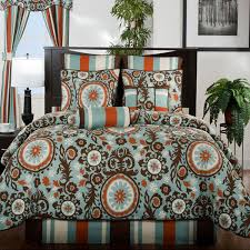 midtown blue brown and orange bedding by victor mill