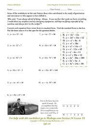 writing quadratic equations in vertex form worksheet dean throughout standard form to vertex form worksheet
