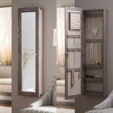 wall mounted gray walnut wood jewelry armoire with mirror