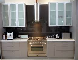 Stylish Kitchen Cabinets White Overhead Kitchen Cabinets With Frosted Glass Door Inserts