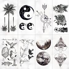 Us 035 29 Offwaterproof World Map Temporary Tattoo Sticker Women Coconut Tree Planet Pattern Body Art New Design Fake Men Tattoos In Temporary