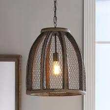 large en wire pendant light with mesh wire wrapped around a distressed wood frame this