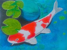 koi fish oil pastel drawing