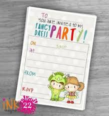 Details About Cute Kids Invitations Pack Fancy Dress Costume Party Birthday Party X10