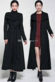 2018 y western winter coats plus size women double lapel black long wool coat outwear ankle length woolen overcoat with belt from sunny315