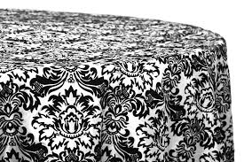 damask flocking taffeta 132 round tablecloth black white