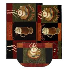 enticing coffee kitchen decor cut in slice as doormat with drinks ilration