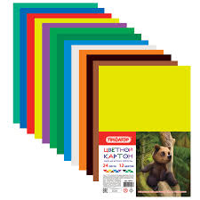 <b>Картон цветной А4 немелованный</b> (матовый), 24 листов 12 цветов